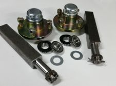 "Trailer stub axle (250x38x38) & Wheel Hub set 100mm PCD with bearings & METAL caps -1"" shaft-750kg"